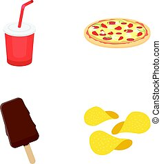 Cola, pizza, ice cream, chips.Fast food set collection icons in cartoon style vector symbol stock illustration web.