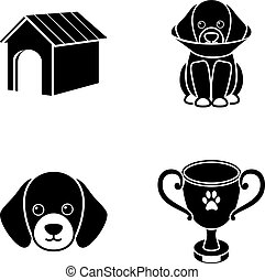 Dog house, protective collar, dog muzzle, cup. Dog set collection icons in black style vector symbol stock illustration web.