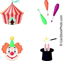 Circus tent, juggler maces, clown, magician's hat.Circus set collection icons in cartoon style vector symbol stock illustration web.