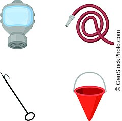 Gas mask, hose, bucket, bagore. Fire department set collection icons in cartoon style vector symbol stock illustration web.