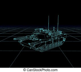 Abrams tank Vector wireframe, perspective 3d technology...