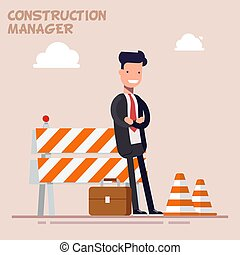 Businessman is a manager or a foreman is standing near the...