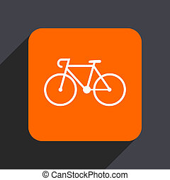 Bicycle orange flat design web icon isolated on gray...