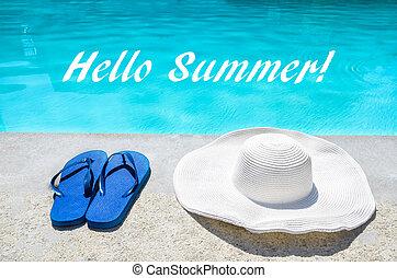 estate, buffetto, fondo,  FLOPS, cappello, ciao, stagno
