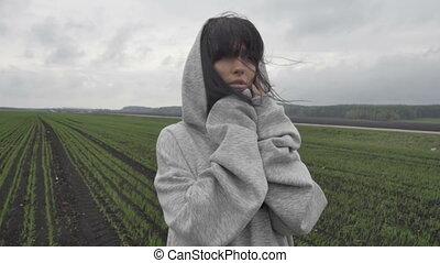 Sensual woman in field