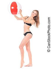 Girl posing in bikini - Pretty girl posing in black bikini...