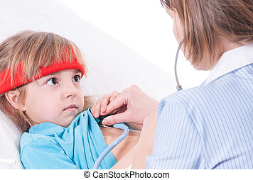 Sick little girl in bed. Mother or female doctor with...