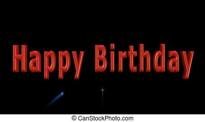 Happy birthday video with 3d inscription and colorful firework on black background