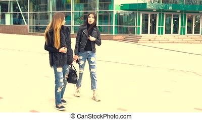 beautiful girls walk in the Park - beautiful young girls...