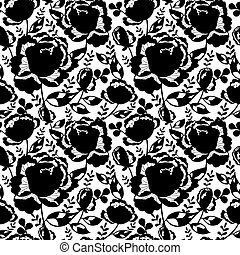 Vector Black and White Decorative Roses and Leaves Seamless Repeat Pattern Background. Great for handmade cards, invitations, wallpaper, packaging, wedding designs.