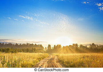 rural landscape with sunrise and road. beautiful view summer...