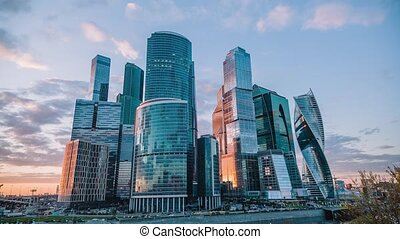 Timelapse of Moscow International Business Center, Moscow-City, 30 fps.