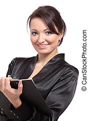 Portrait of cute young brunette business woman holding a...