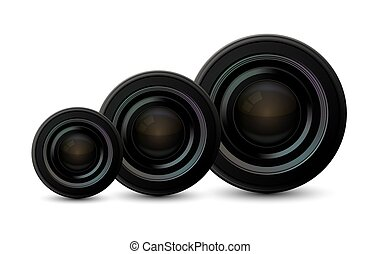 Vector modern camera icons set on white background.