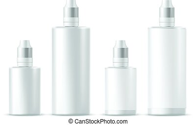Realistic white cosmetic bottles. Vector illustration -...