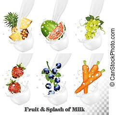 Set of different milk splashes with fruit, nuts and berries. Watermelon, grape, carot, strawberry, blueberry, pineapple. Vector Set.