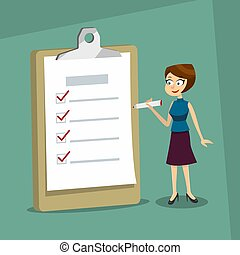 Happy smiling woman holding a marker looking at completed checklist on clipboard. Business concept. EPS10 vector.