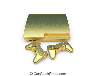 isolated golden console