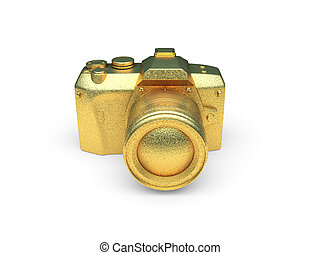 isolated golden camera