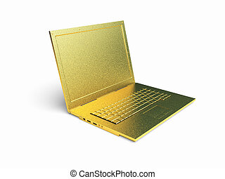 isolated golden laptop