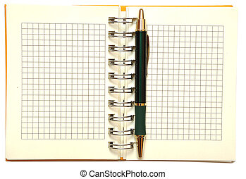 open spiral bound notebook with pen