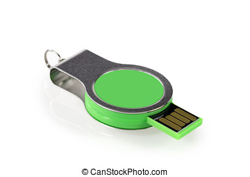 Green USB memory stick isolated on white background