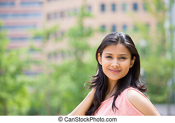 Beautiful headshot - Closeup portrait of confident smiling...