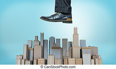 A giant male shoe ready to stomp at a small cluster of...