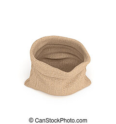 3d rendering of open burlap money bag isolated on white background.