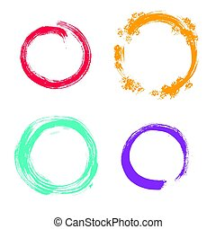 Vector grunge round frames. Hand drawn collection. - Vector...
