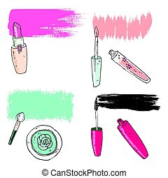 Cosmetic tools with the trace. Vector illustration. -...