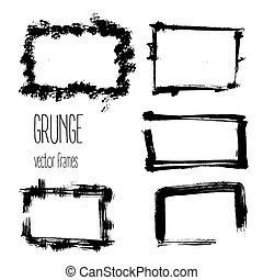 Vector grunge rectangle frames. Hand drawn art collection. -...