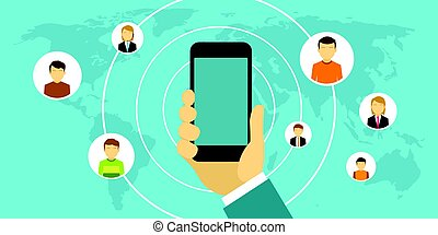 people socialize with smartphone to connect each other