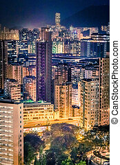 Night of Hong Kong residential area