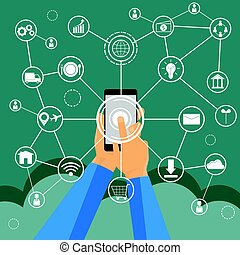 business technology concept,Business people hands use smart phone connection online networking communication on table with business and social network icon symbol, vector illustration.