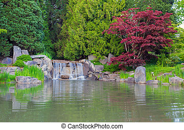 Waterfall by the Lake in the Park with Red Maple Trees and...