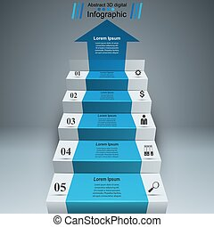 Business infographics up the ladder to success.
