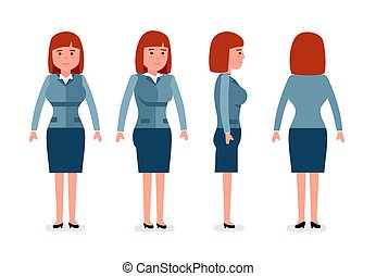 Set of young happy female clerk, successful worker, professional manager, full length, front, rear side view, white background.