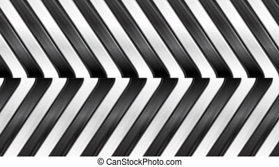 Black and white abstract glossy stripes motion background.