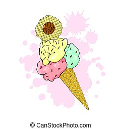 Ice cream in a waffle cone, three colors with sprinkles.
