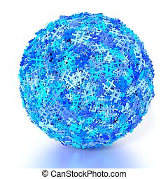 Sphere covered with blue hashtags social media concept