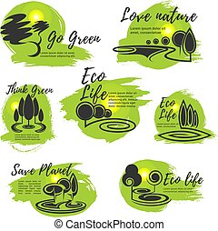 Eco green life and ecology protection symbol