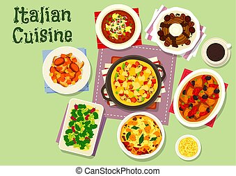 Italian cuisine healthy dishes for lunch icon