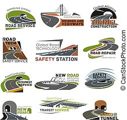 Road and highway construction icon set - Road construction...