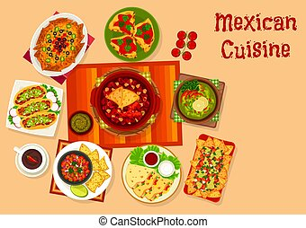Mexican cuisine icon with taco, nacho and sauce - Mexican...