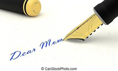 mamá, escritura, pluma, fuente, palabras, querido, negro