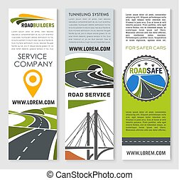 Road banner set with highway bridge and tunnel - Road...