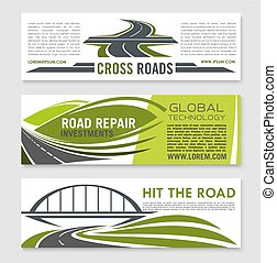 Road, highway, crossroad and bridge banner set - Road and...