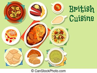 British cuisine healthy food icon for lunch design - British...