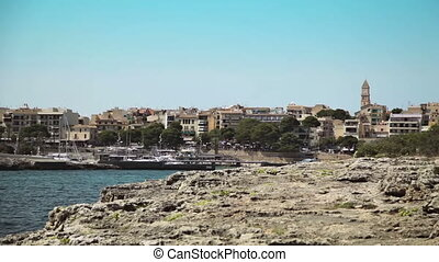 Sea Bay with beach and yachts. Spanish Parking for yachts in...